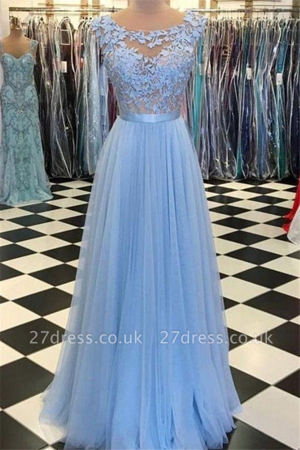 Sexy Jewel Applique Prom Dress UKes UK Sleeveless Tulle Elegant Evening Dress UKes UK with Sash
