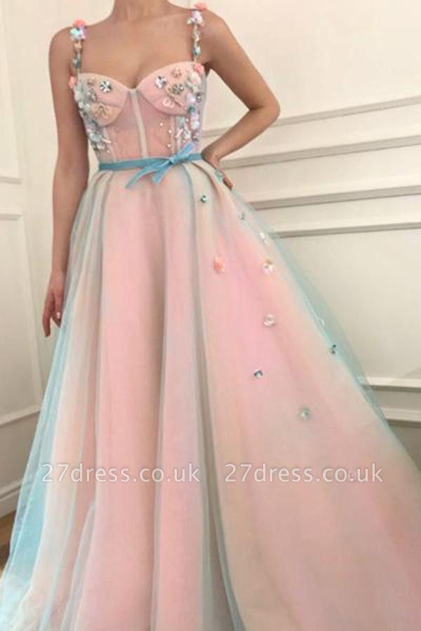 Sexy Flower Bowknot Spaghetti-Strap  Prom Dress UKes UK Ribbons Sheer Sleeveless Evening Dress UKes UK with Beads