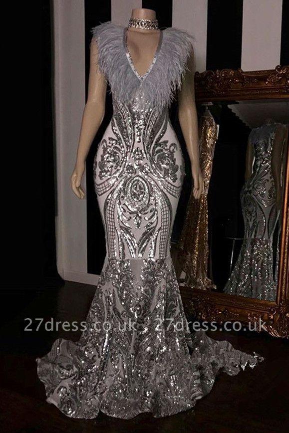 Gorgeous Alluring V-Neck without Sleeve Elegant Mermaid Sequins Long Prom Dress UK UKes UK