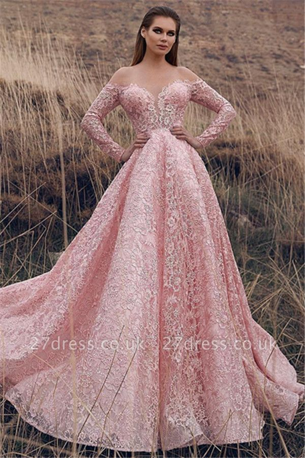 Sexy Pink Off-The-Shoulder with Sleeves Lace Applique Princess A-Line Prom Dress UK UKes UK