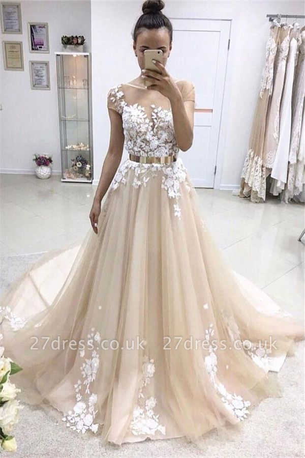 Lace Appliques Jewel Prom Dress UKes UK Ribbons Sheer Sleeveless Evening Dress UKes UK