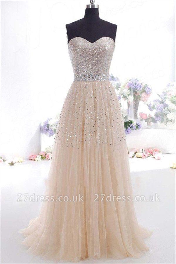 Sexy Sweetheart Sequins Pink Prom Dress UKes UK Sleeveless Open Back Crystal Evening Dress UKes UK