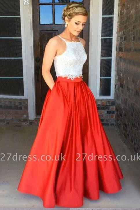 Lace Appliques Prom Dress UKes UK Side slit Mermaid Sleeveless Evening Dress UKes UK