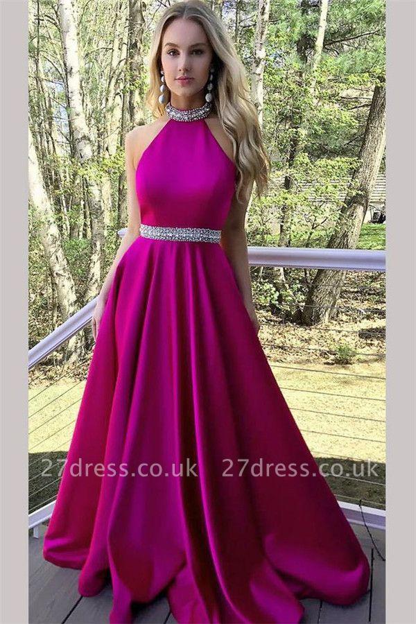 Crystal Halter Prom Dress UKes UK Ribbon Sleeveless Evening Dress UKes UK