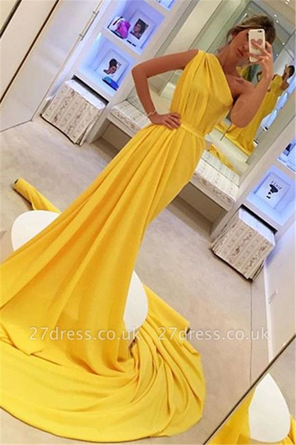 Amazing Sexy Yellow Asymmetric without Sleeve Long A-Line Prom Dress UK UK