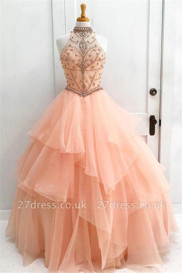 Sexy Crystal Halter Lace Appliques Prom Dress UKes UK Keyhole Ball Gown Sleeveless Evening Dress UKes UK with Beads