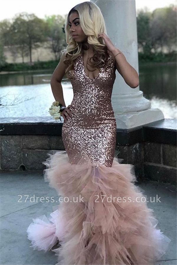 Sexy Red Sequins Mermaid Spaghetti-Straps Long Prom Dress UKes UKHalter Sequins Ruffles Prom Dress UKes UK Mermaid Sleeveless Evening Dress UKes UK Sexy