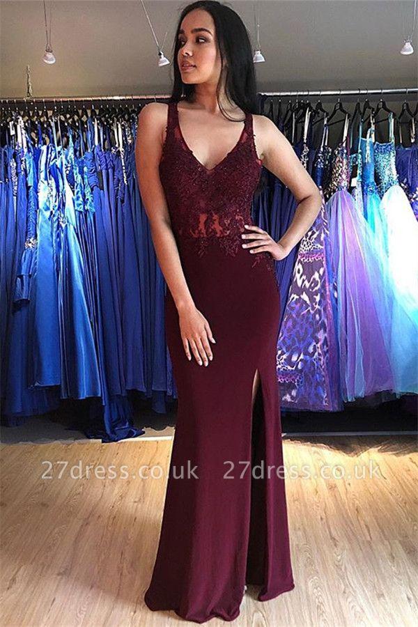 Burgundy Lace Appliques Sleeveless Open Back Prom Dress UKes UK Mermaid Side Slit Evening Dress UKes UK with Beads Dress UKes UK