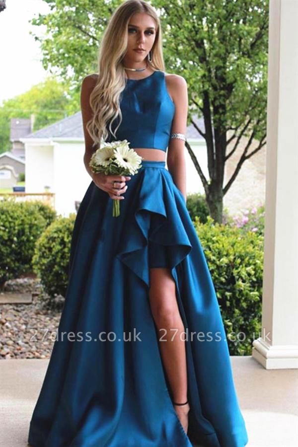 Sexy Jewel Two Piece Ruffles Prom Dress UKes UK Side-Slit Sleeveless Elegant Evening Dress UKes UK