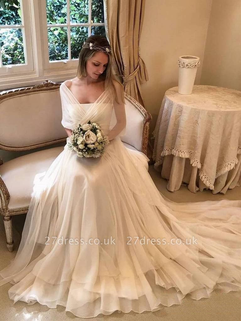 Elegant Applique Tiered Elegant Wedding Dresses UK Sheer Cheap Longsleeves Backless Floral Bridal Gowns