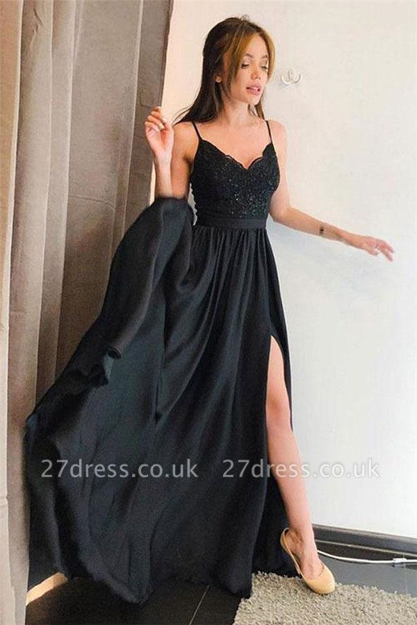 Black Lace Appliques Spaghetti-Strap Prom Dress UKes UK Side slit Sleeveless Evening Dress UKes UK