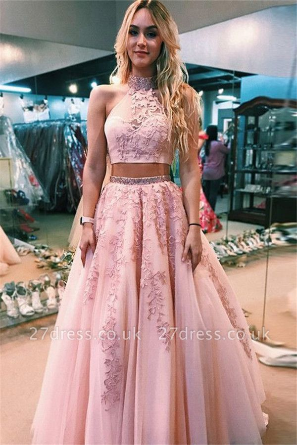 Sexy Lace Appliques Halter Two Piece Prom Dress UKes UK Open Back Sleeveless Evening Dress UKes UK with Beads
