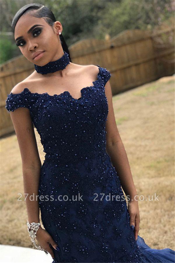 Navy Blue Off-The-Shoulder Beaded Lace Appliques Tulle Elegant Trumpt Prom Dress UKes UK UK