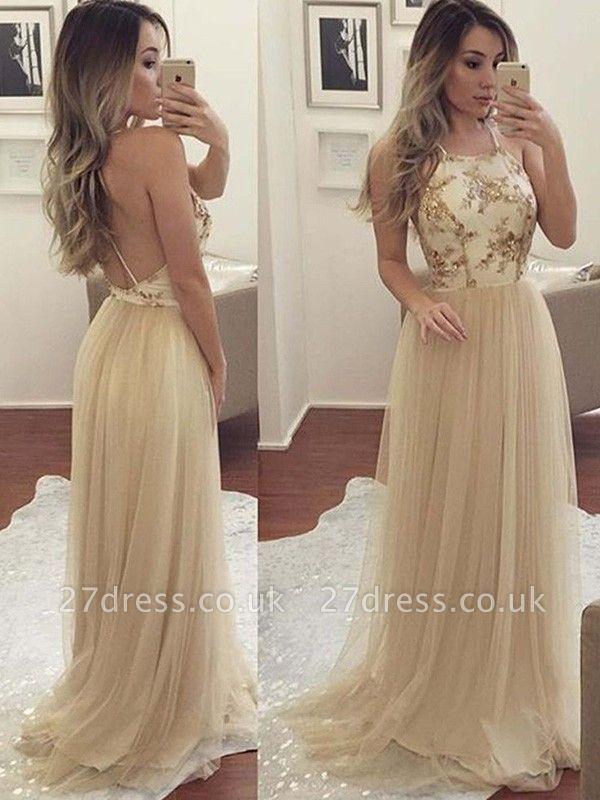 Sexy Halter Applique Open Back Prom Dress UKes UK Sleeveless Elegant Evening Dress UKes UK with Crystal