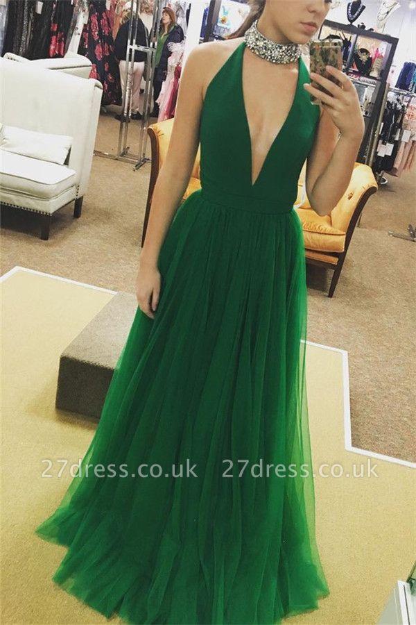 Sexy Crystal Halter Prom Dress UKes UK Sheer Sleeveless Evening Dress UKes UK