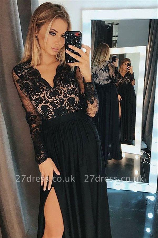 Side-Slit Lace Elegant V-Neck Prom Dress UKes UKBlack Tulle Long Sleeves Elegant Evening Dress UKes UK Sexy