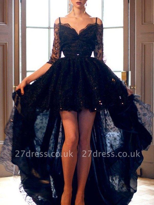 Red Spaghetti Strap Lace Up Prom Dress UKes UK Tulle Sleeveless  Side Slit Evening Dress UKes UK Sexy