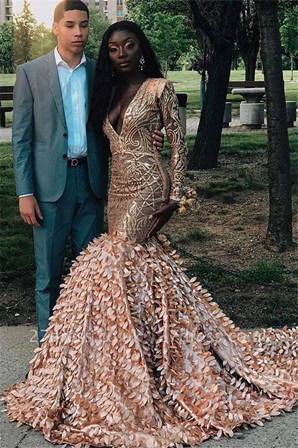Simple Long Sleeves V-Neck Lace Applique Long Elegant Trumpt Prom Dress UKes UK UK