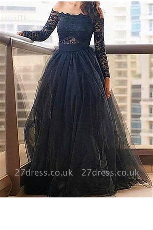Black Long Sleeves Lace Bateau Prom Dress UKes UK Tulle Sexy Evening Dress UKes UK with Sash