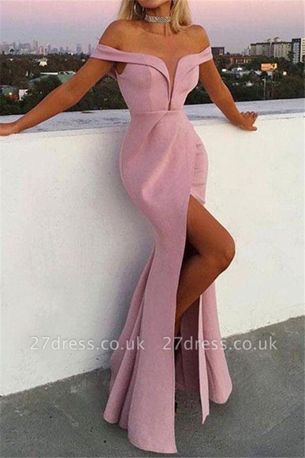 Pink Off-the-Shoulder Ruffles Prom Dress UKes UK Mermaid Sleeveless Side Slit Elegant Evening Dress UKes UK