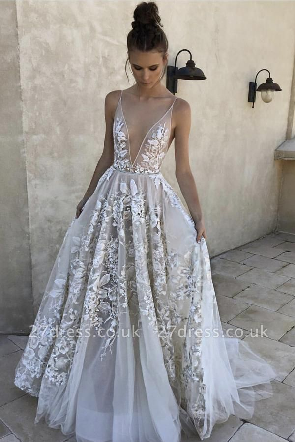 Lace Appliques Spaghetti-Strap Prom Dress UKes UK Sheer Sexy Sleeveless Evening Dress UKes UK