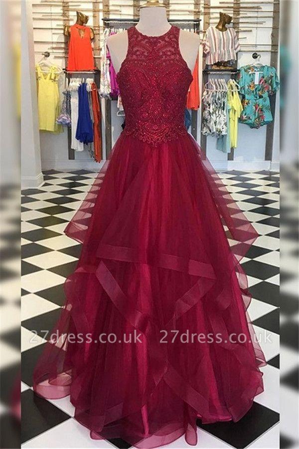 Sexy Halter Applique Ruffles Prom Dress UKes UK Sleeveless Elegant Evening Dress UKes UK with Beads