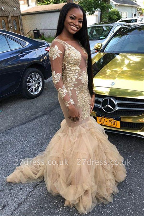 Jewel Sequins Long Sleeves Prom Dress UKes UK Ruffles Tulle Mermaid Evening Dress UKes UK