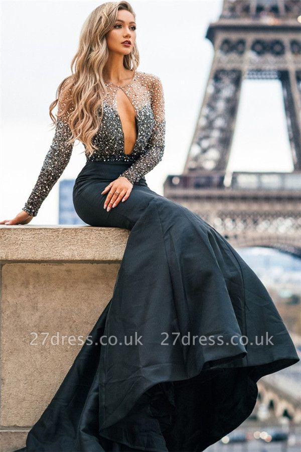 Amazing Black Sheer-Tulle Lace Appliques with Sleeves Elegant Mermaid Prom Dress UK UK