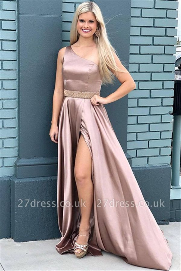 Sexy One-Shoulder Beads Prom Dress UKes UK Side Slit Sleeveless Elegant Evening Dress UKes UK with Sash