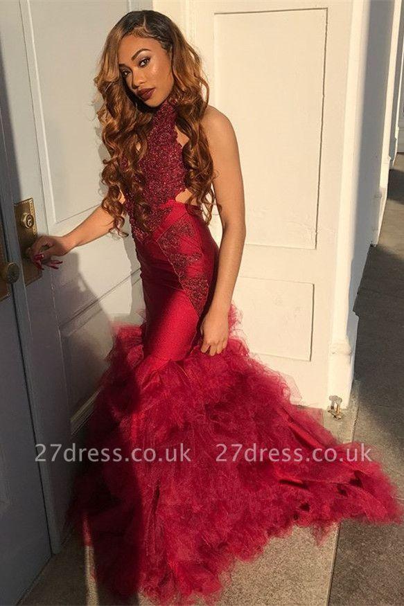 Long Tulle Halter Elegant Mermaid Lace Appliques Prom Dress UK UKes UK