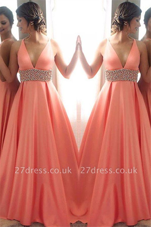 Crystal Elegant V-Neck Lace Prom Dress UKes UK Sleeveless Side Slit Tulle Elegant Evening Dress UKes UK