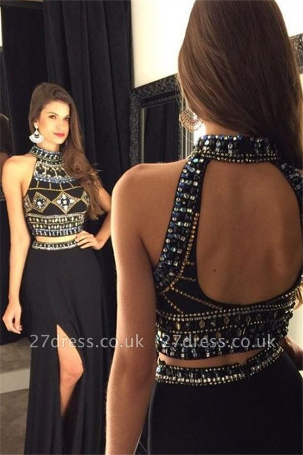 Black Open Back Beads Prom Dress UKes UK|Two Piece Side-Slit Elegant Evening Dress UKes UK