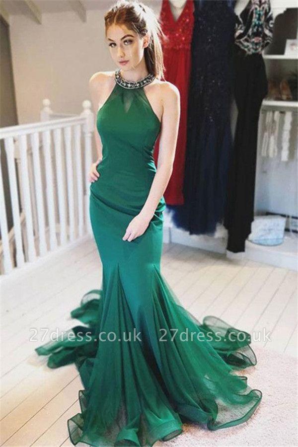 Green Halter Crystal Ruffles Prom Dress UKes UK Mermaid Sleeveless Tulle Elegant Evening Dress UKes UK