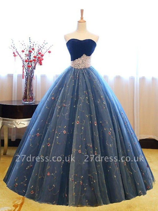Sweetheart Lace Flower Crystal Prom Dress UKes UK Sleeveless Ball Gown Elegant Evening Dress UKes UK with Beads