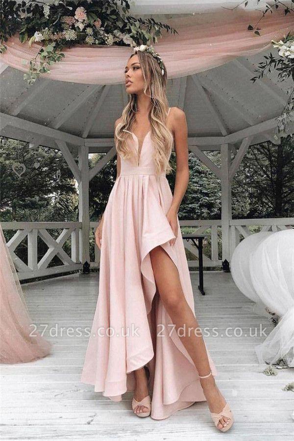 Sexy Straps Prom Dress UKes UK Side slit A-Line Sleeveless Evening Dress UKes UK