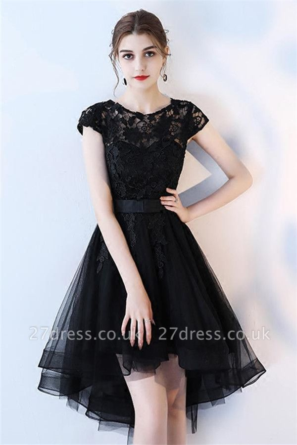 Black Bowknot Jewel Lace Appliques Homecoming Dress UKes UK HI-Lo Sheer Sleeveless Short Party Dress UKes UK