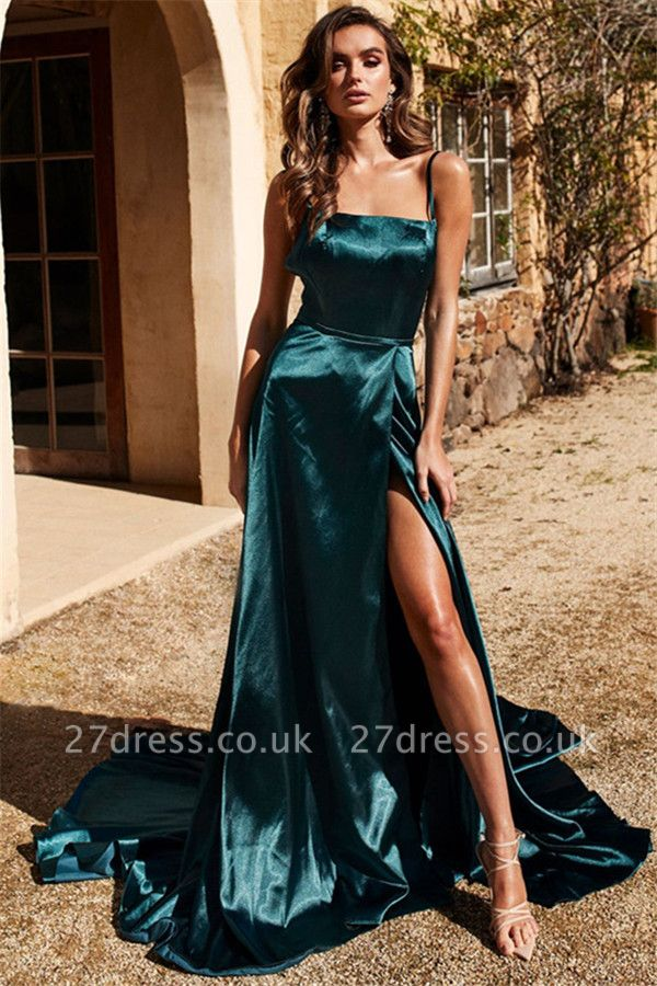 Sexy Spaghetti Strap Prom Dress UKes UK Side Slit Sleeveless Elegant Evening Dress UKes UK
