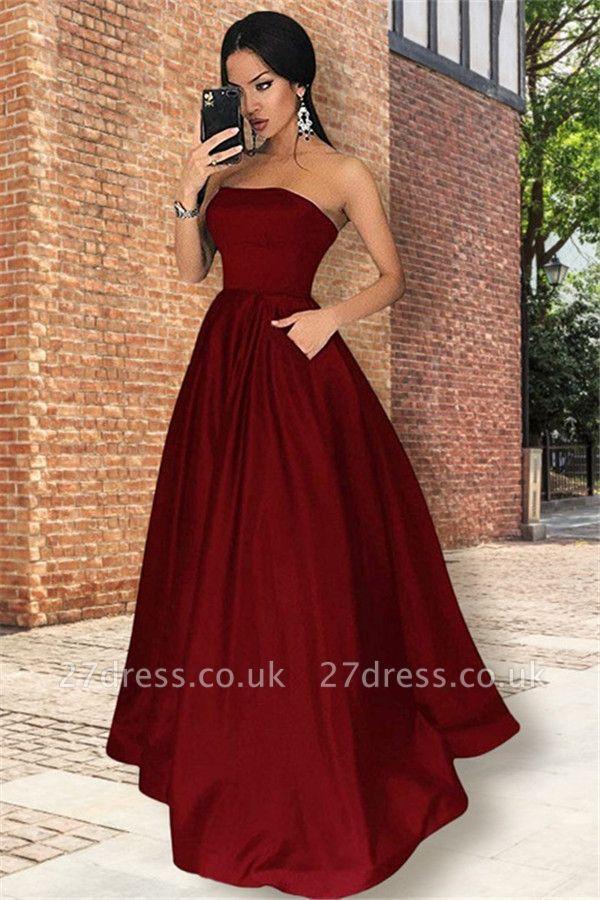 Burgundy Strapless Ruffles Prom Dress UKes UK Sleeveless Elegant Evening Dress UKes UK with Pocket