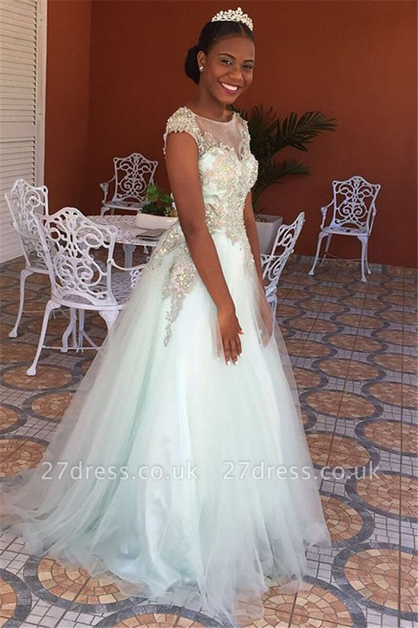 Princess Jewel Lace Appliques Prom Dress UKes UK Sleeveless Tulle Evening Dress UKes UK with Beads
