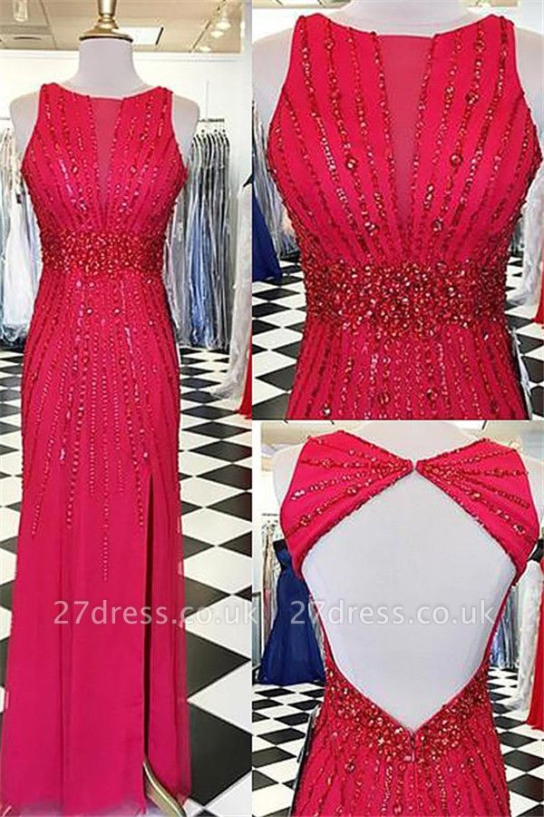 Sexy Red Jewel Side Slit Prom Dress UKes UK Open Back Sleeveless Evening Dress UKes UK with Beads