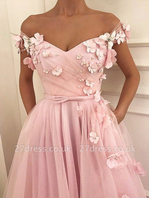 Pink Flower Off-the-Shoulder Prom Dress UKes UK Sleeveless Beads Elegant Evening Dress UKes UK with Sash