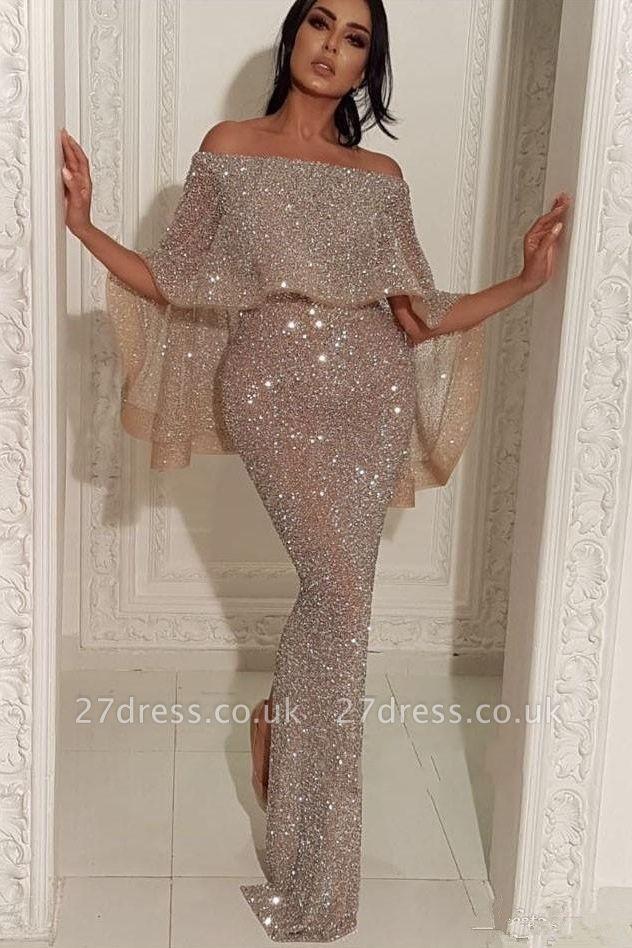 Shiny Off-the-shoulder Long Elegant Mermaid Sequins Prom Dress UK UKes UK