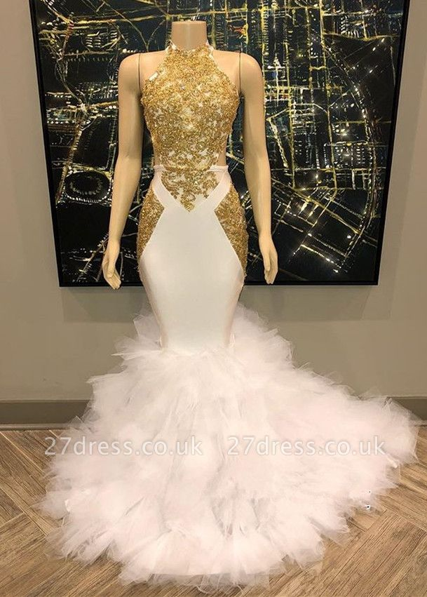 without Sleeve Golden Lace Appliques Tulle Button Elegant Mermaid Prom Dress UK UKes UK