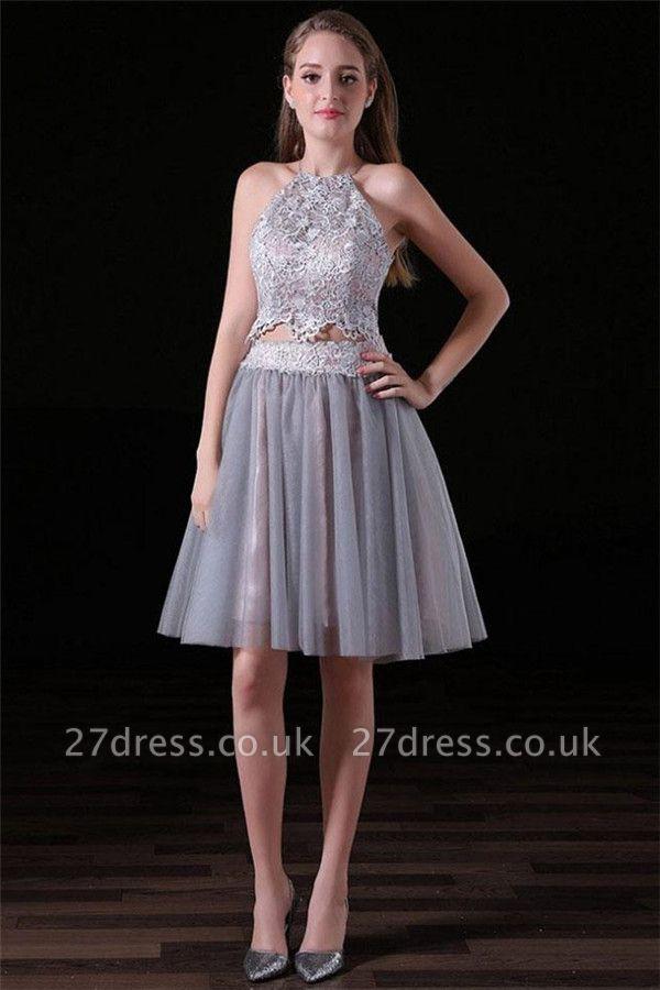 Sexy Halter Lace Appliques Homecoming Dress UKes UK Two Piece Lace-Up Sleeveless Short Party Dress UKes UK