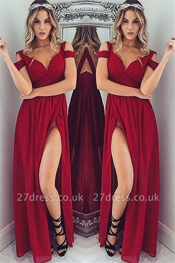 Off-the-Shoulder Side Slit Prom Dress UKes UK Tulle Ruffles Evening Dress UKes UK Sexy