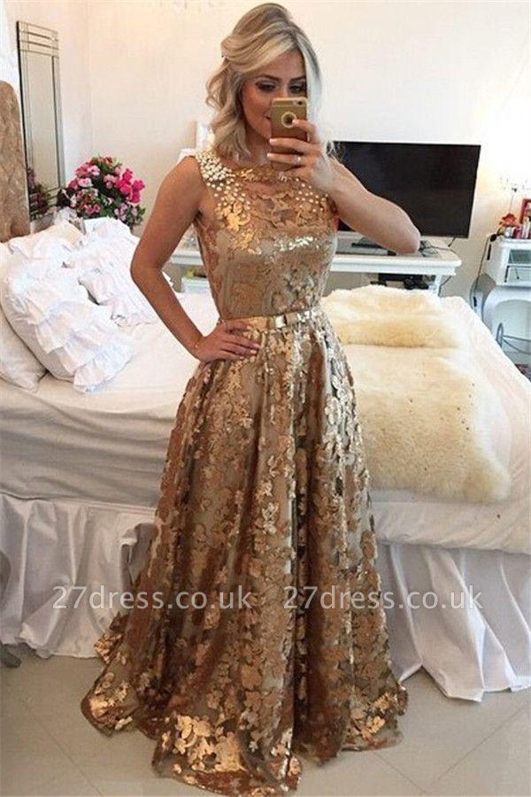 Luxury Gold Straps Beaded Sequins Sleeveless Prom Dress UK