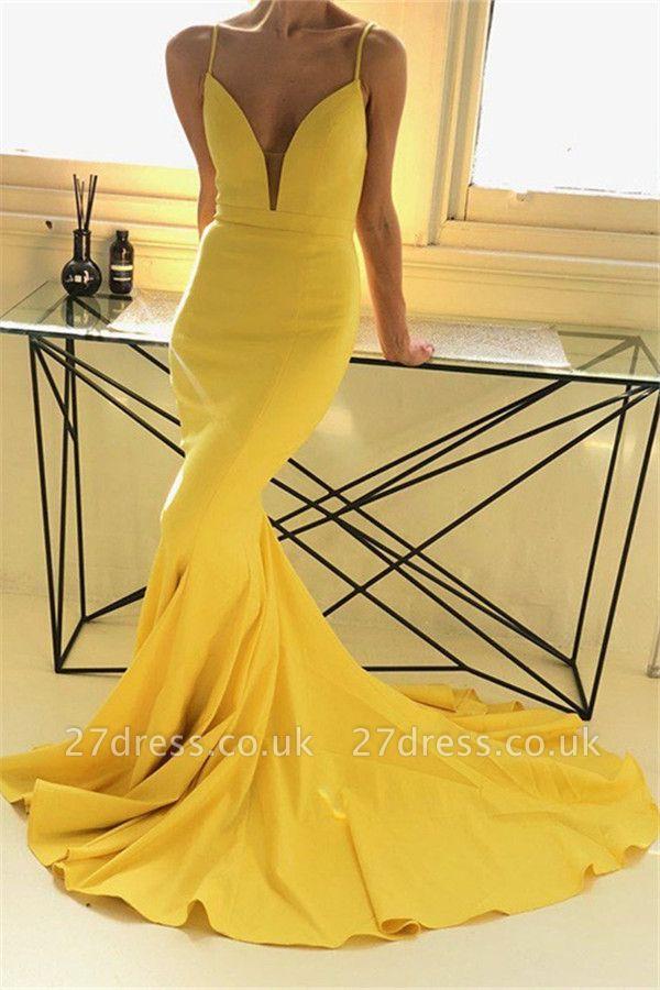 Charming yellow Spaghetti Strap Prom Dress UKes UK Sleeveless Mermaid Open Back Elegant Evening Dress UKes UK