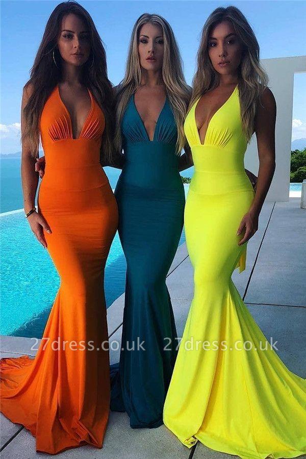 Elegant Halter without Sleeve Open back Bowknot Elegant Mermaid Prom Dress UK UK