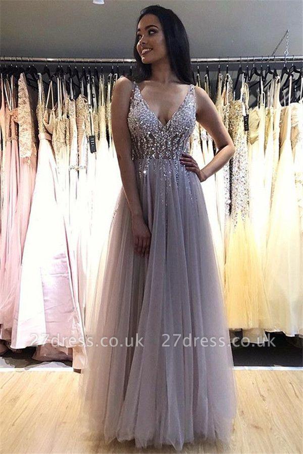 Elegant V-Neck Crystal Open Back Prom Dress UKes UK Tulle Sexy Sleeveless Evening Dress UKes UK