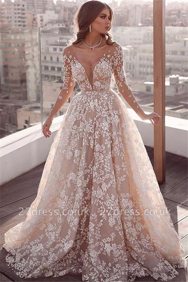 Elegant Lace Applique Wedding Dresses UK Long Sleeves Floral Bridal Gowns